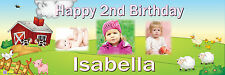 Personalised Party Photo Banner Kids Childrens Birthday Banner FARMYARD Banner