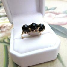 Art Nouveau 14K Gold Onyx Triple Orb Ring Claw Setting 4.2 grams Size 8 c1910