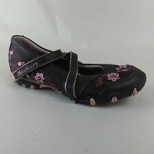 Skechers 82645L Girls 11.5 Youth Brown Leather Pink Floral Sequin Mary Jane Flat