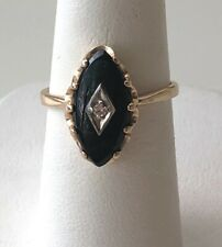 ART DECO YELLOW GOLD BLACK AGATE & DIAMOND RING SIZE 6.
