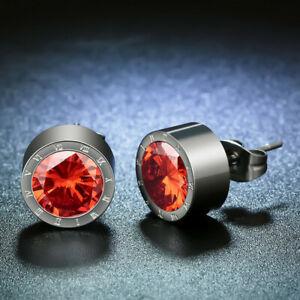 Women'S Silver Round Red Crystal Anti Allergic Stainless Steel Earrings