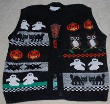 Vintage Sweater Loft Ugly Halloween Vest Medium Black Cats Ghosts Pumpkins VTG