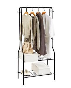 2 Tier Entrance Hall Coat Rack Organiser Clothes Rack Rail Shoe Storage Hooks