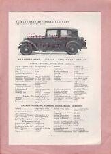 STUTTGART-UNTERTÜRKHEIM Typentafel 1934, Daimler-Benz Mercedes-Benz Typ 170, 200