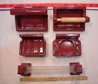 Vintage *Burgundy* 6 pc. Ceramic Bathroom Set, Soap Dishes, TP Holder, Towel Bar
