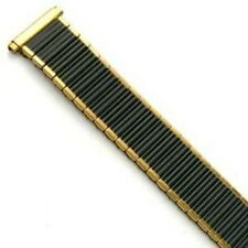 Mens 16-19mm Black Gold Twist O Flex Stretch Metal Expansion Watch Band Strap