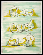 "HENRY MOORE - "" 3  reclining figures""  -  lithograph  - 1971"