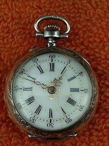 "Antique Silver &  Rose Gold ""Lion Chateau Du Loir"" Pocket Fob Watch C1900 French"