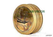 Vintage Brass Compass Sundial Marine Navigation Navy VASA Engraved LID Cap Decor