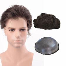 8x10'' Dark Brown Skin PU Toupee Base Human Hair Replacement Men's HairPiece