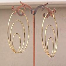 """18K Gold Filled 2.6"""" Earring Multilayer Swirl Circle Hollow Eardrop Ear Hoop DS"""