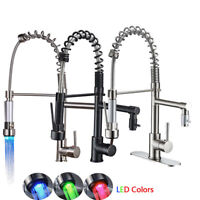 Kitchen Faucet Swivel Spout Pull Down Sprayer Deck Mount Sink Mixer Tap 1 Handle