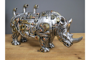 Steampunk Rhino   Silver Finish with Gold Detail   Resin Ornament