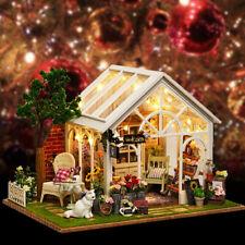 ❤ DIY Wood Dollhouse House Kit Miniature Furniture LED Kids Birthday Art Gift ❤