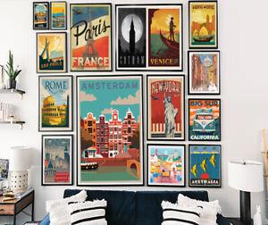 Vintage Travel Retro Posters Home Prints Art Tourism Holiday Decor CityA5 A4 A3