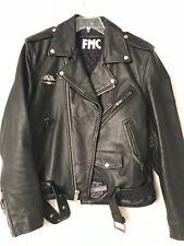 FMC Men's Moto Black Leather Jacket Motorcycle Riding Biker Classic Size 42