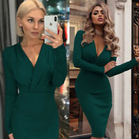 Bodycon Womens Club Cocktail V Neck Evening Casual Party Mini Dress Long Sleeve
