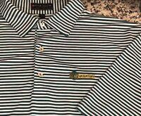 Peter Millar Mens Summer Comfort Green White Striped Golf Polo Shirt XL