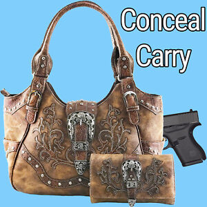 Justin West Western Floral CCW Stud Buckle Concealed Carry Handbag Purse Set