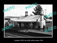 OLD LARGE HISTORIC PHOTO OF LYNDHURST NSW VIEW OF THE RAILWAY STATION c1910