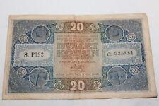 Vecchia banconota 20 dvacet KORUN 1919 venti corone 20 corone 1919