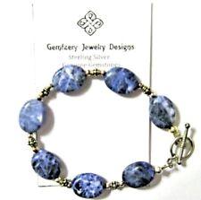 Sterling Silver Natural SODALITE Gemstone Bead Bracelet...Handmade USA