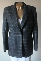 Blazer Jacket M&S Soft Wool & Angora Size 14 Tailored Grey Plaid Check Flawless