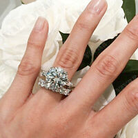 4.50Ct Round Cut D/VVS1 Diamond 14k Real White Gold Engagement Wedding Ring Set
