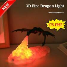 3D Fire-Breathing Dragon Night Light LED Table Desk Lamp Room Decor UK