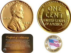 1943 GENUINE Steel Lincoln Wheat CENT Penny US Coin 24K GOLD PLATED CERTIFICATE