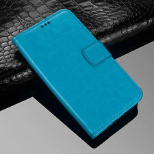 ( Blue)Premium PU Leather Flip Case Wallet Stand Cover For Various Phones 2019