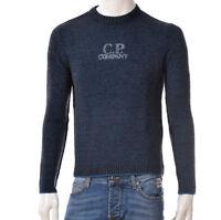 Maglione Uomo CP Company 05CMKN242A Pullover Girocollo Lana Blu Nero Nuovo