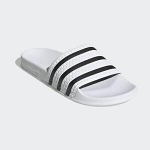 Adidas Originals Men's Adilette Slides NEW AUTHENTIC White/Black 280648