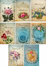 Vintage inspired Thank you small note cards tags set of 8 with envelopes
