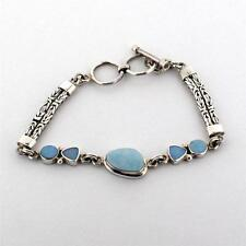 Opal Bracelet Sterling Silver Gemstone Jewelry Bali Design Toggle