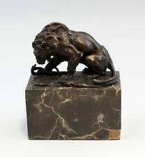 Neufertigung sign. Carvin Bronze - Plastik Löwe mit Schlange 9937268-dss