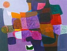 Denise Bourdouxhe 1925-1990 huile sur papier art abstrait expressionnisme P1373