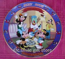 Disney *Birthday Party 1942* Mickey Minnie Through Years plate Bradford Mib Coa