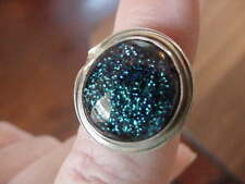 (#DR8-7) Size 8 DICHROIC GLASS SILVER RING BLUE GREEN BLACK Wow