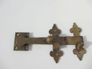 Victorian Brass Door Latch Lock Antique Hook Old Gate Bolt Keep Gibbons 8.5""