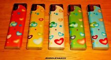 Lot Of 5 COLORFUL HEARTS Slide Electronic Refillable Lighters- FREE SHIP