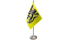 Flanders Lion Satin Flag with Chrome Base Table Desk Flag Set