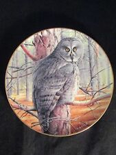 """Danbury Mint The Majesty of Owls """"The Grey Ghost"""" Collector Plate 1992, no bx/C"""