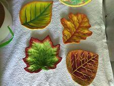Boston Warehouse Harvest Plates Set of 4 in Box,  Leaf Design Colorful       #68