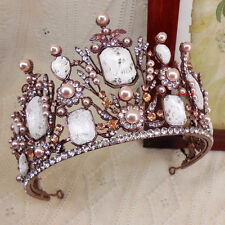 9cm High Large Rose Gold Pearl Lace Crystal Adult Tiara Crown Wedding Prom Party
