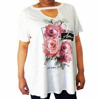 New Ladies Ex Evans White Floral Summer Evening Casual Top Plus Sizes 20 - 32