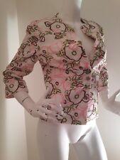Tibi Jacket Coat Blazer Size 8 Beige w Green Brown Pink 3/4 Sleeve cotton blend
