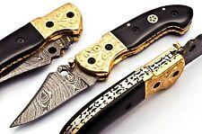 DAGGERSDEN DDK-B0328 CUSTOM DAMASCUS STEEL 7.5 INCH FOLDING KNIFE BULL HORN