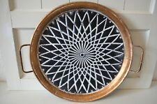 Deko Tablett Metall schwarz mit Griffen Tisch Dekoration Edel Deko Shabby 50cm
