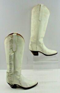 Ladies Garner Moss White Leather Round Toe Western Cowboy Boots Size: 6 B